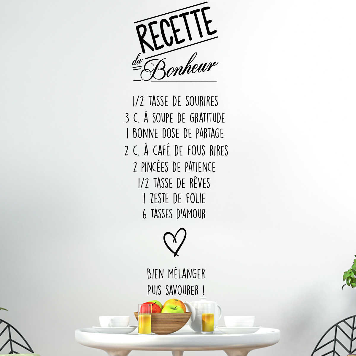 Sticker citation recette du bonheur stickers citations for 1 amour de cuisine