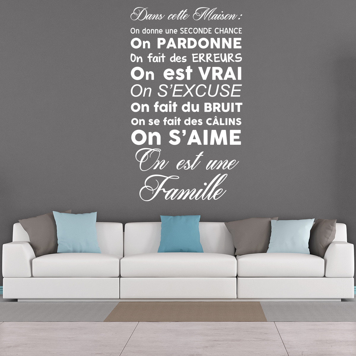 sticker citation dans cette maison on est une famille stickers citations fran ais ambiance. Black Bedroom Furniture Sets. Home Design Ideas