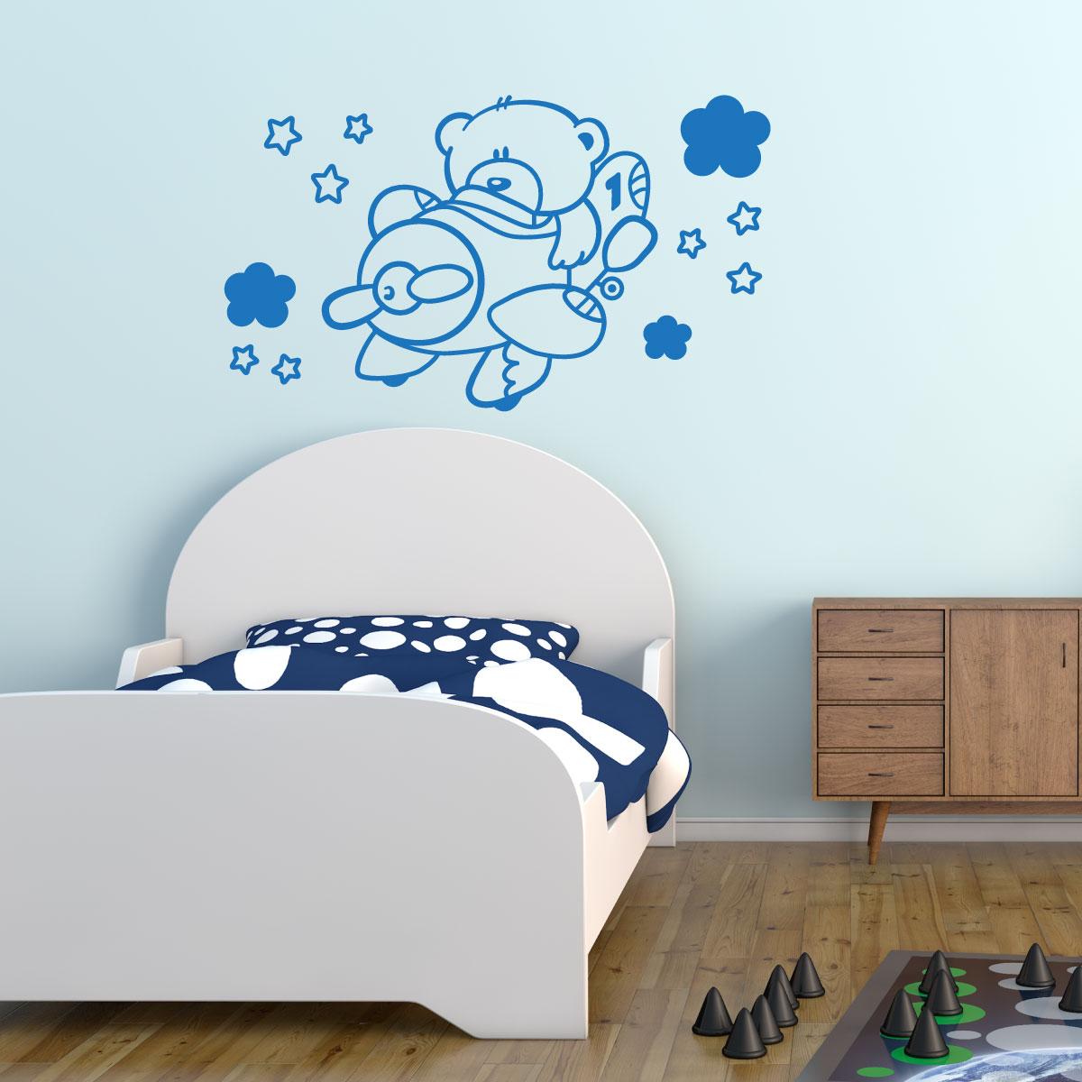 sticker ours dans un avion stickers chambre enfants chambre b b ambiance sticker. Black Bedroom Furniture Sets. Home Design Ideas