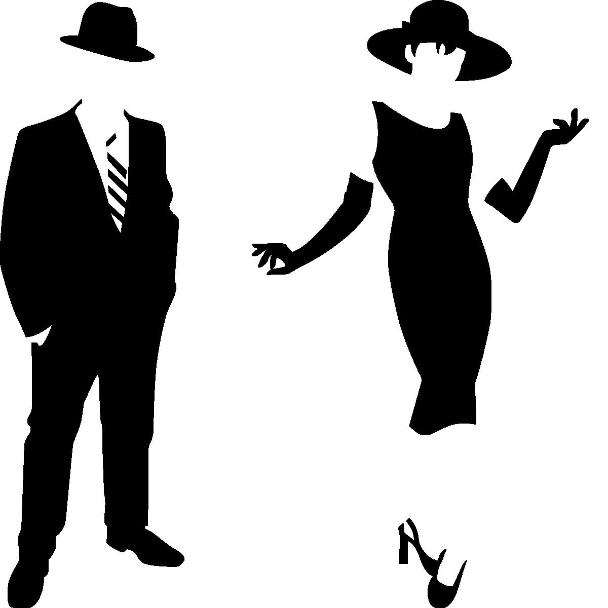 Sticker silhouette homme et femme l gant stickers - Rideaux de douche transparent ...