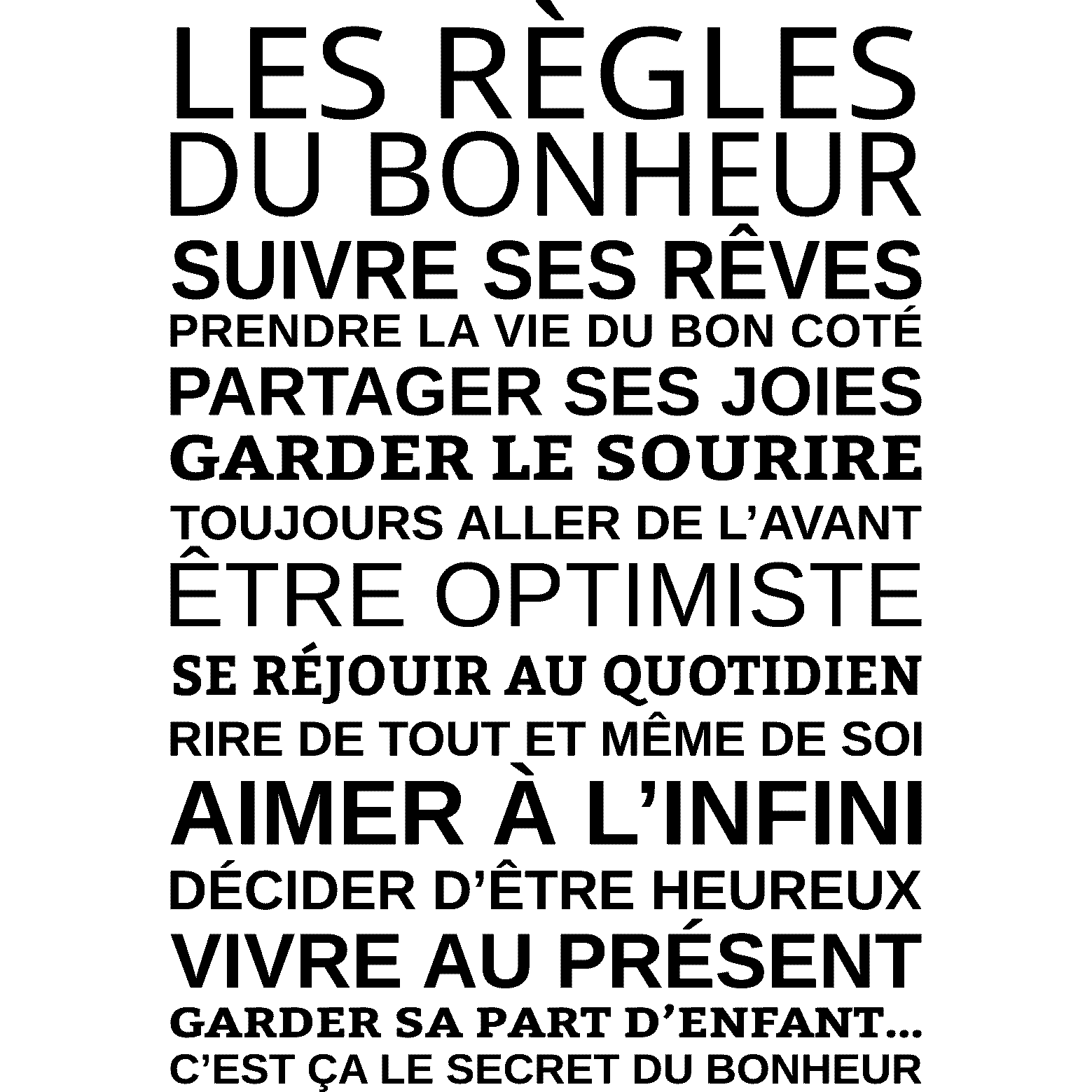 Sticker les r gles du bonheur stickers citations for Proverbe cuisine humour