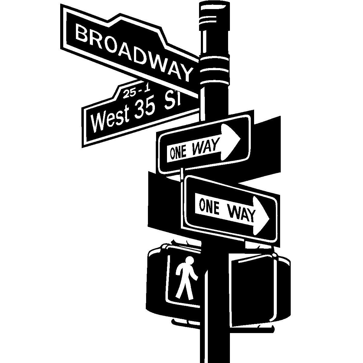 stickers muraux new york sticker panneau sur broadway ambiance. Black Bedroom Furniture Sets. Home Design Ideas