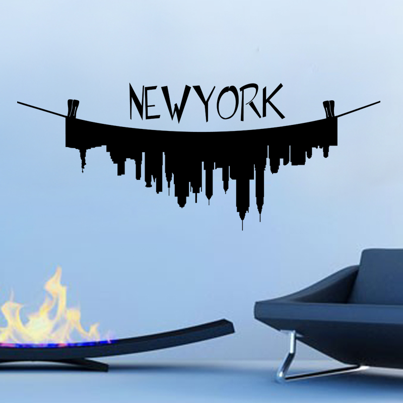 stickers muraux new york sticker new york l 39 envers ambiance. Black Bedroom Furniture Sets. Home Design Ideas