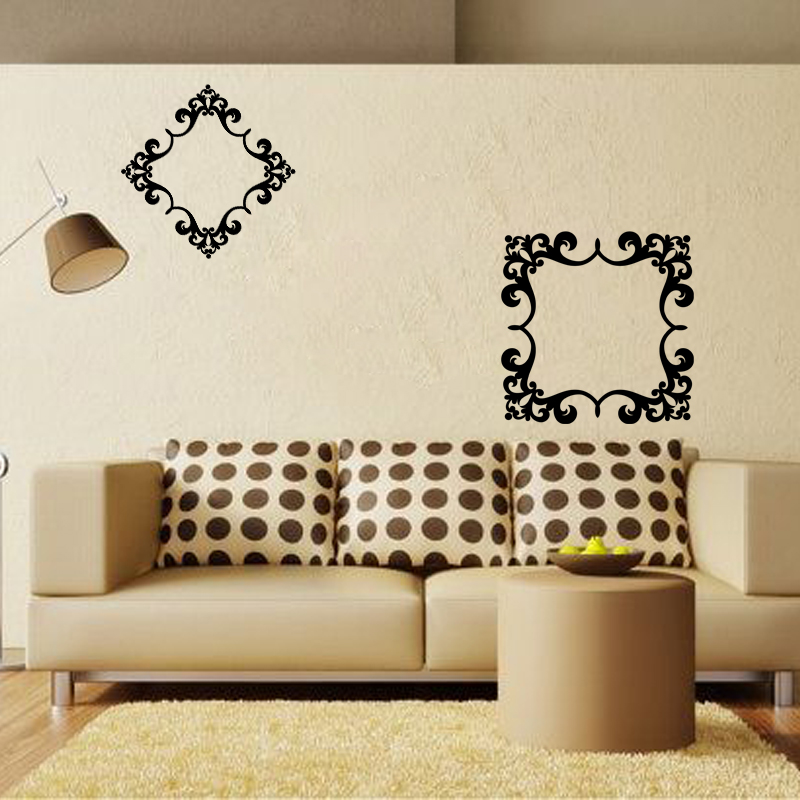 stickers muraux design sticker mural cadre fleur ambiance. Black Bedroom Furniture Sets. Home Design Ideas