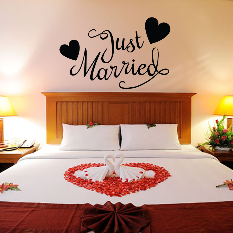 Stickers muraux pour chambre sticker mural just married - Stickers muraux pour chambre ...