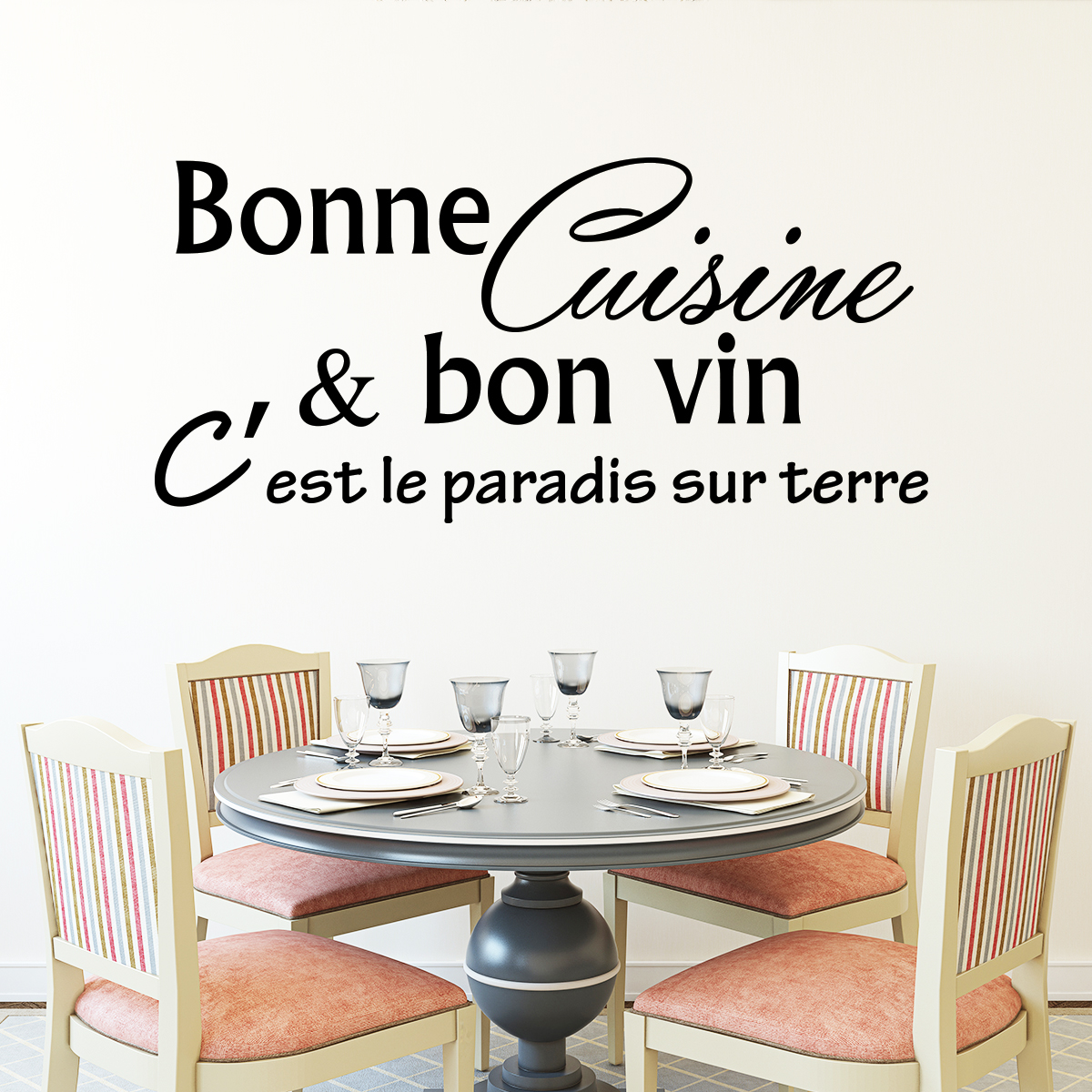 sticker bonne cuisine et bon vin c 39 est stickers citations fran ais ambiance sticker. Black Bedroom Furniture Sets. Home Design Ideas