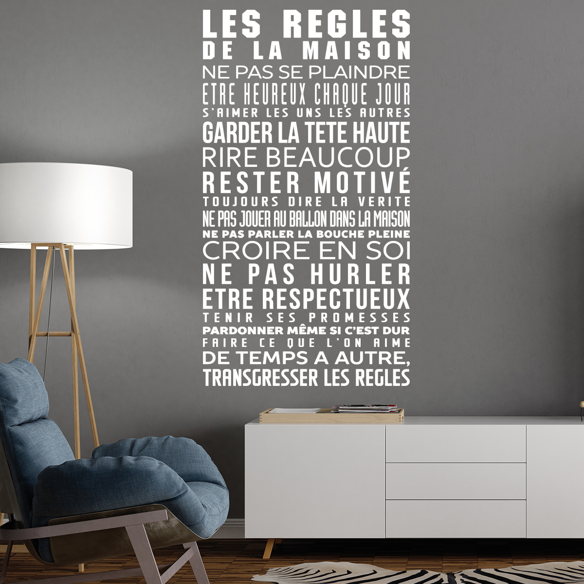 Sticker Les R 232 Gles De La Maison Stickers Citations