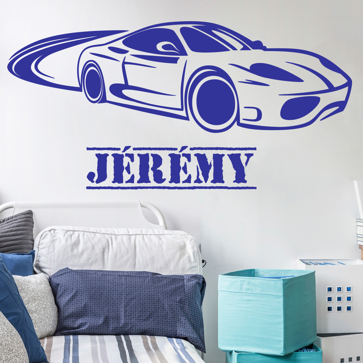 sticker pr nom personnalis voiture chambre ado gar on. Black Bedroom Furniture Sets. Home Design Ideas