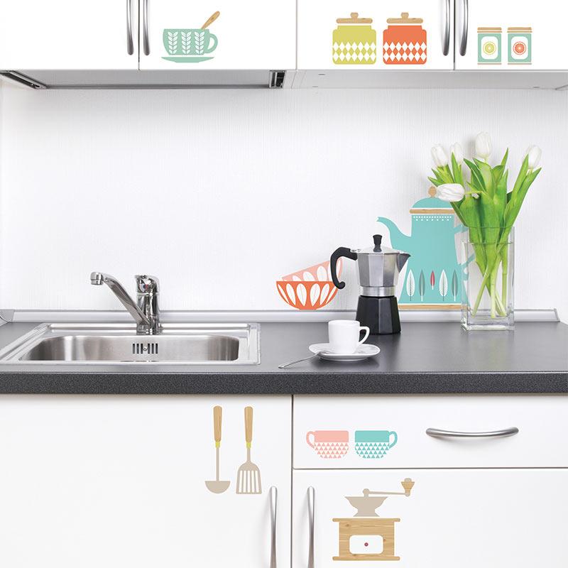 stickers de silhouettes et personnages sticker ustensiles de cuisine ambiance. Black Bedroom Furniture Sets. Home Design Ideas