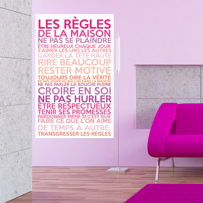 Sticker poster les r gles de la maison couleurs girly - Stickers muraux les regles de la maison ...