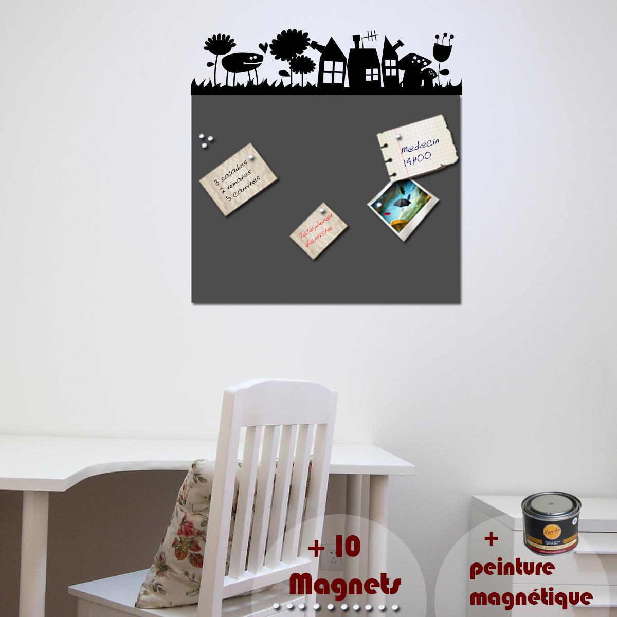 ... -Peinture magnétique avec sticker herbe  Ambiance-sticker.com