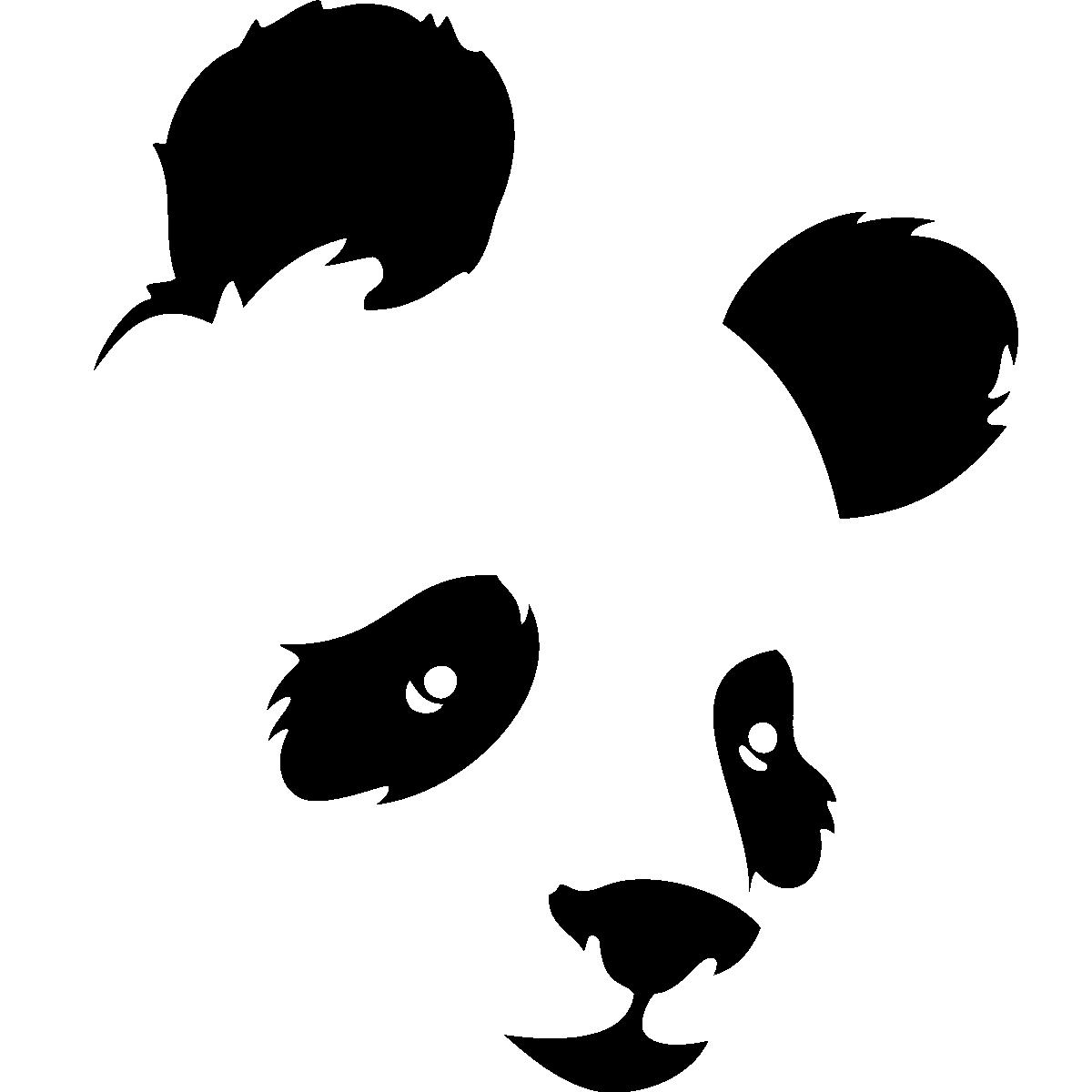 Stickers muraux animaux sticker t te de panda de face - Tete de panda dessin ...