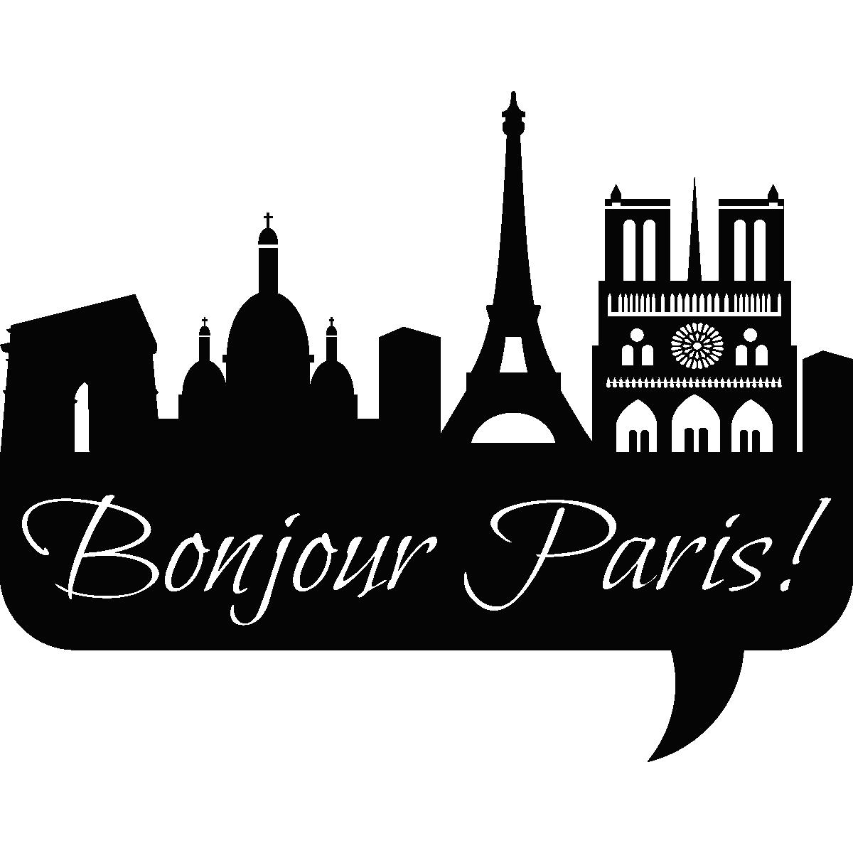 Stickers muraux pays et villes sticker bonjour paris ambiance - Stickers muraux paris ...