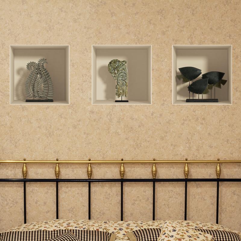 sticker effet 3d plantes et poissons en bois stickers. Black Bedroom Furniture Sets. Home Design Ideas
