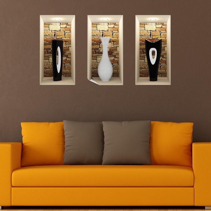 sticker effet 3d vases modern blanc et noirs stickers 3d effets 3d ambiance sticker. Black Bedroom Furniture Sets. Home Design Ideas