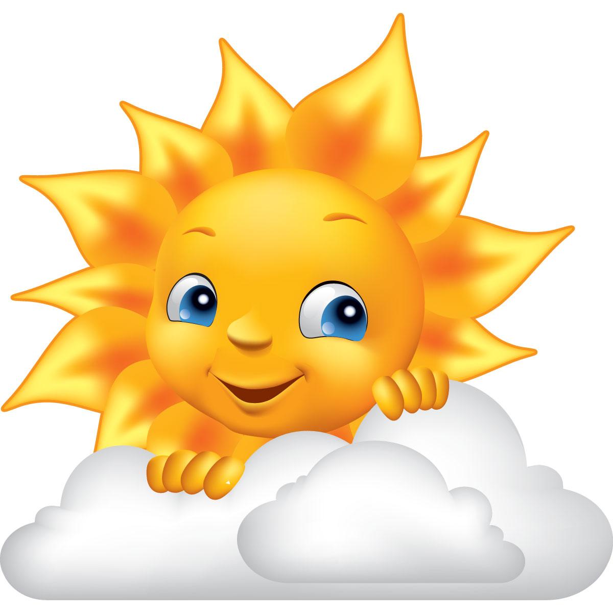 Sticker design soleil et nuage stickers stickers enfants - Image soleil rigolo ...