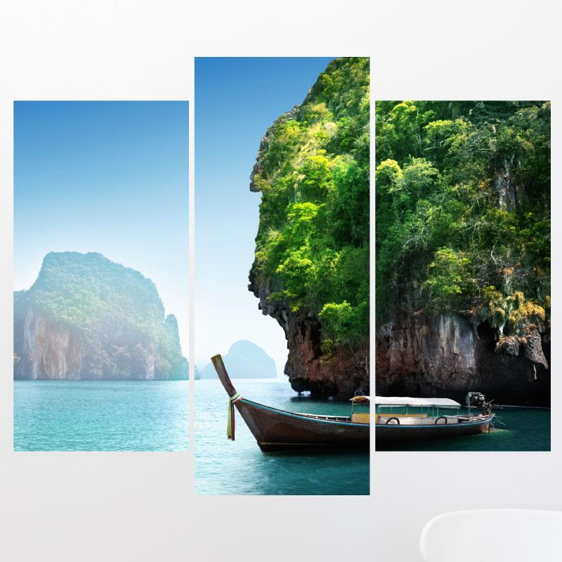 Sticker paysage de la mer et des montagnes stickers art for Paysage design