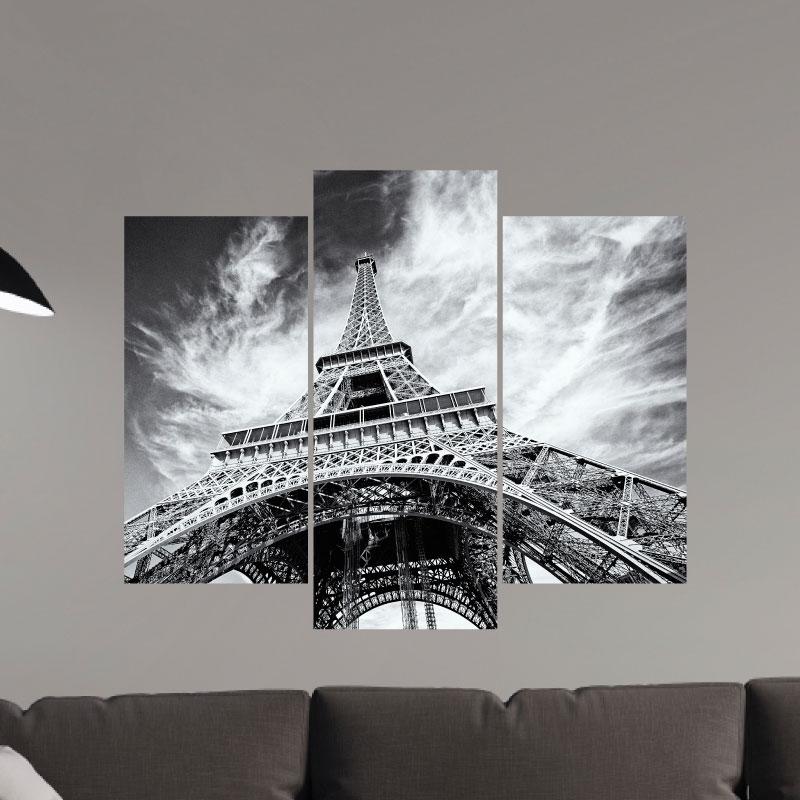 sticker tour eiffel en noir et blanc stickers villes et voyages ambiance sticker. Black Bedroom Furniture Sets. Home Design Ideas