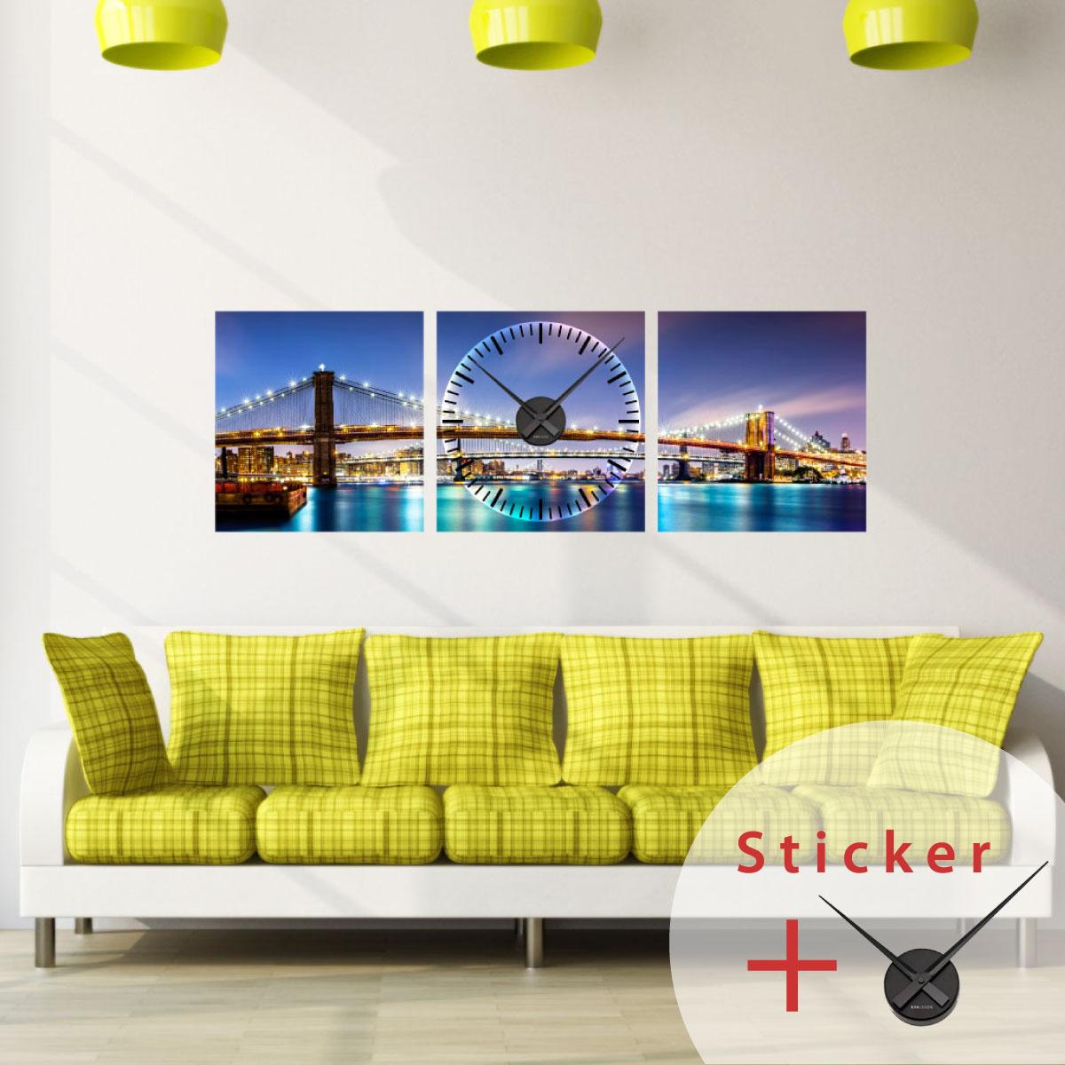Sticker horloge vue sur brooklyn bridge sticker villes - Horloge murale design italien ...