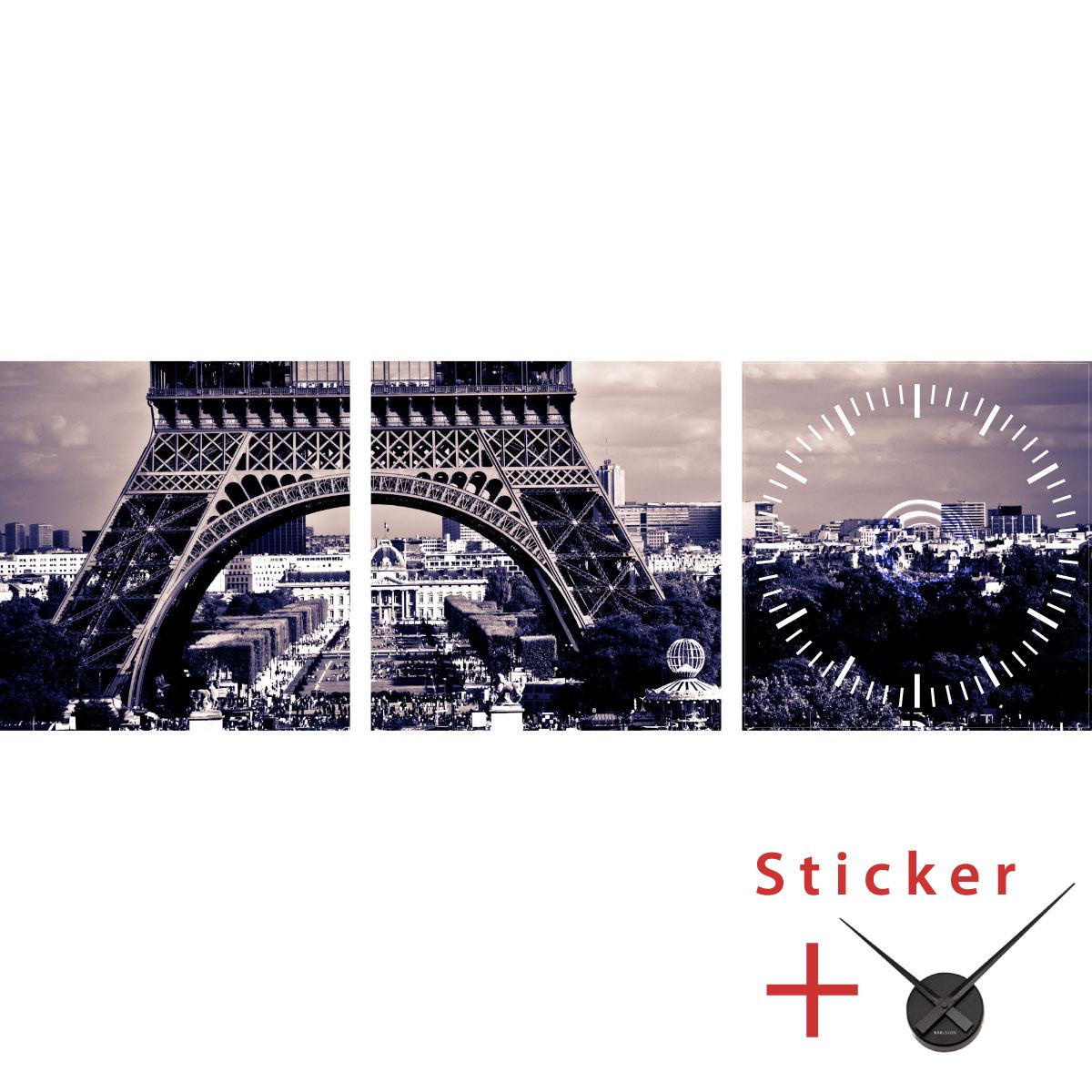 sticker horloge tour eiffel ville de paris stickers villes et voyages paris ambiance sticker. Black Bedroom Furniture Sets. Home Design Ideas