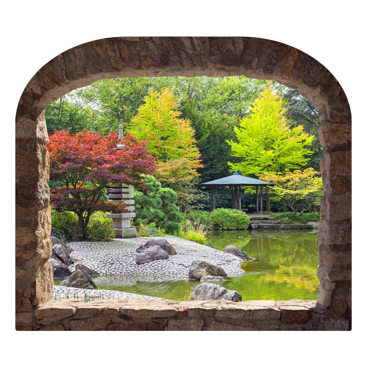 Sticker muraux trompe l 39 oeil sticker mural jardin japonais ambiance - Trompe l oeil jardin ...