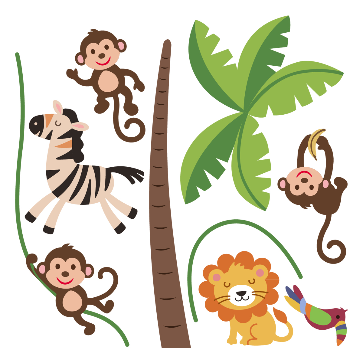 Stickers muraux animaux sticker jungle heureux for Stickers animaux chambre bebe