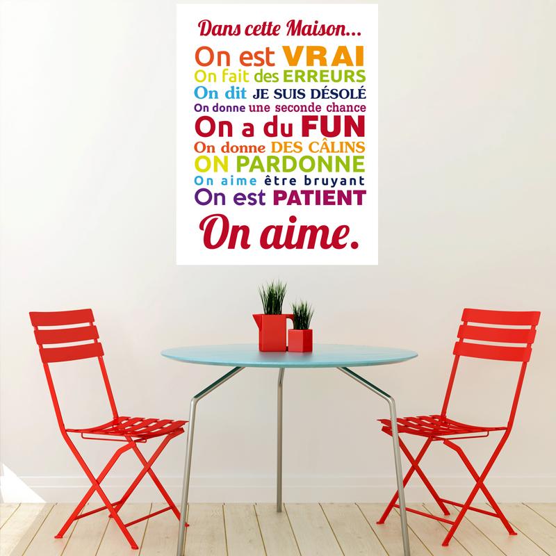 sticker poster dans cette maison multicolore stickers citations fran ais ambiance sticker. Black Bedroom Furniture Sets. Home Design Ideas