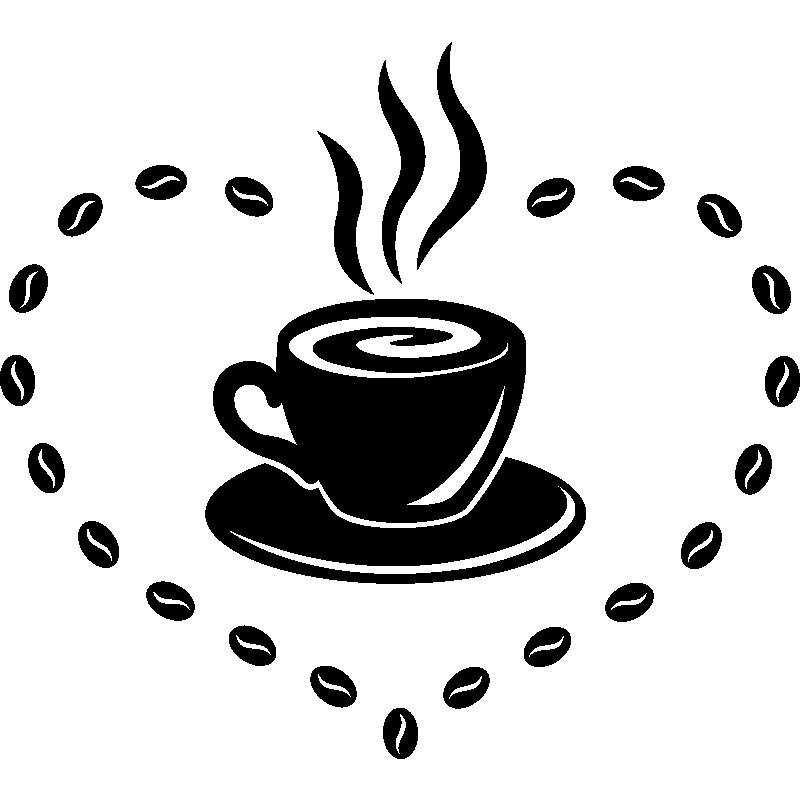 Stickers caf et grains pour cuisine - Coquillage grain de cafe porte bonheur ...
