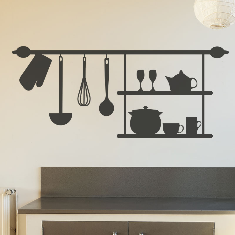 stickers muraux pour la cuisine sticker tag re ambiance. Black Bedroom Furniture Sets. Home Design Ideas