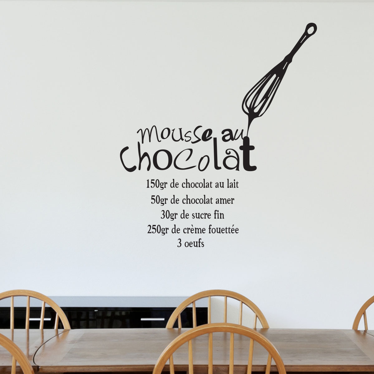 sticker recette mousse au chocolat stickers cuisine ambiance. Black Bedroom Furniture Sets. Home Design Ideas