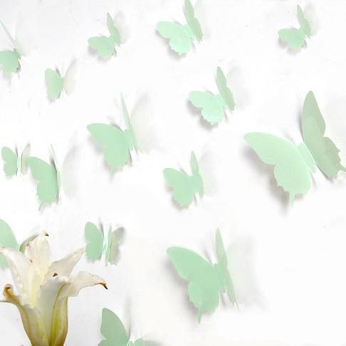kit de 12 stickers papillons 3d menthe. Black Bedroom Furniture Sets. Home Design Ideas