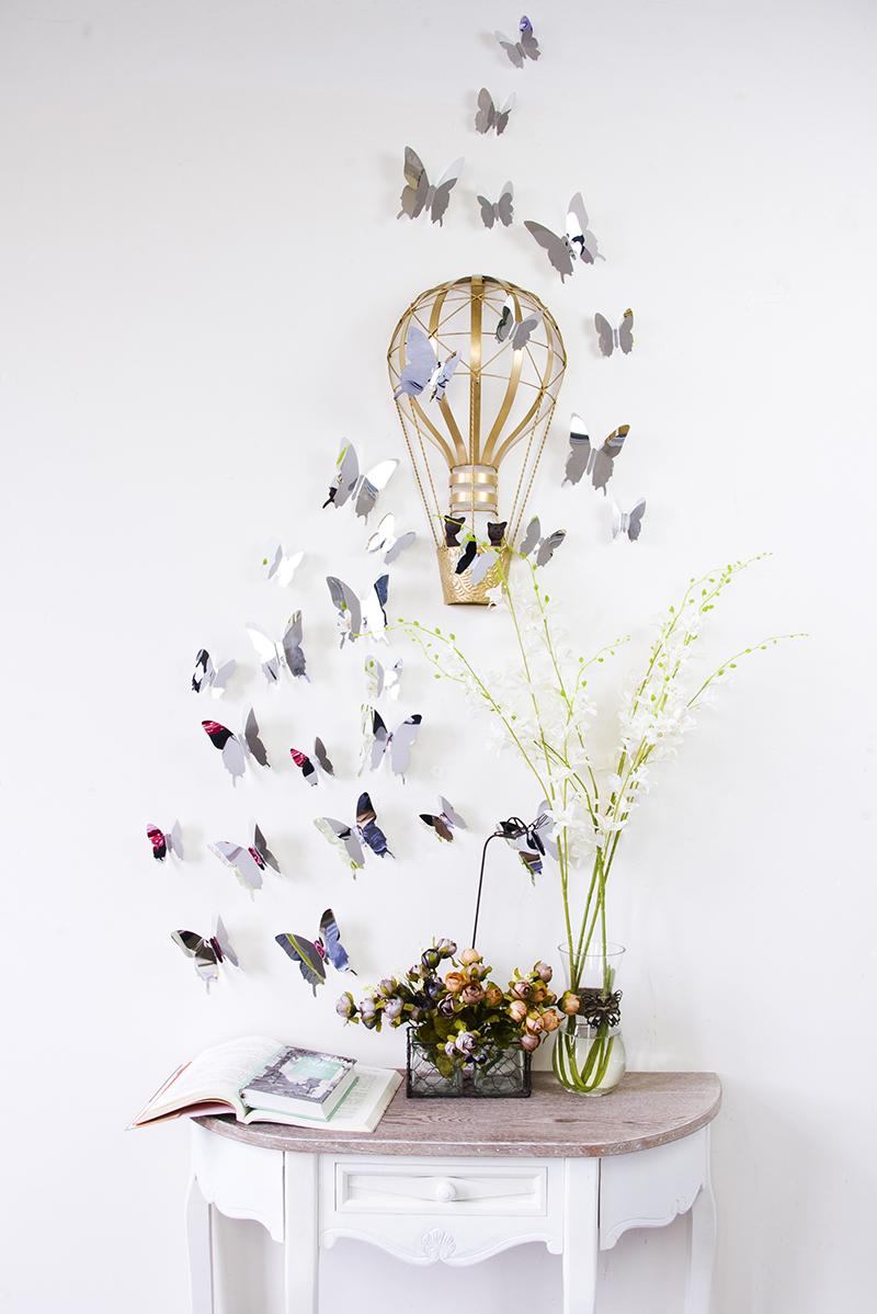 kit de 12 stickers papillons 3d rouges. Black Bedroom Furniture Sets. Home Design Ideas