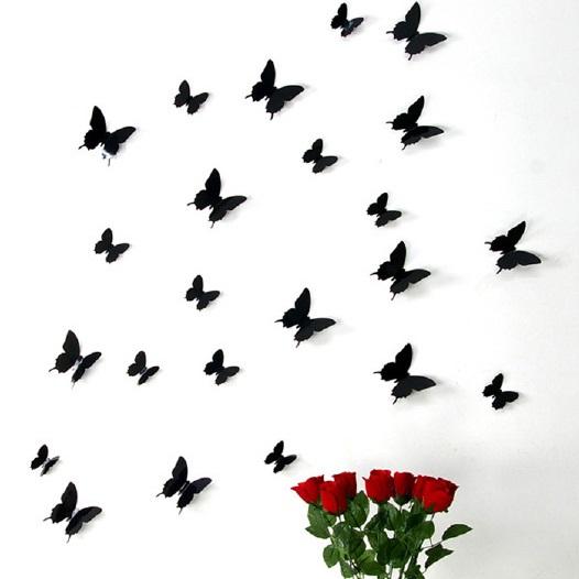 kit de 12 stickers papillons 3d noirs. Black Bedroom Furniture Sets. Home Design Ideas