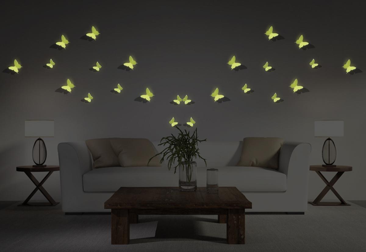 kit de 12 stickers papillons 3d phosphorescents. Black Bedroom Furniture Sets. Home Design Ideas