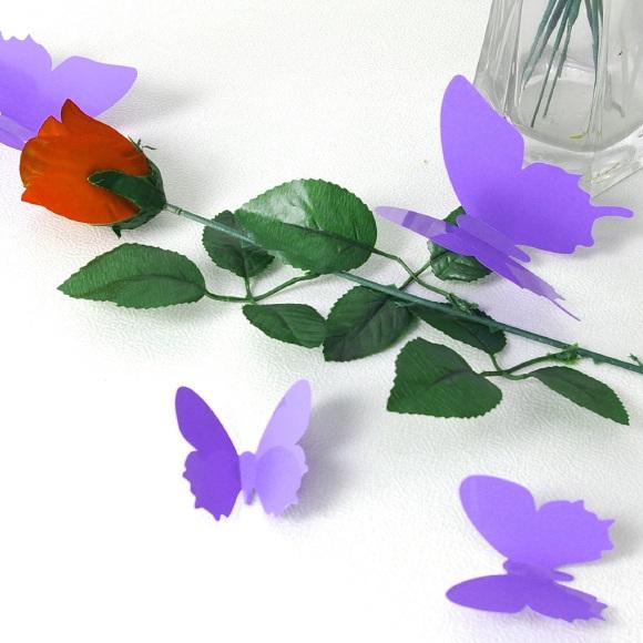 kit de 12 stickers papillons 3d violet. Black Bedroom Furniture Sets. Home Design Ideas