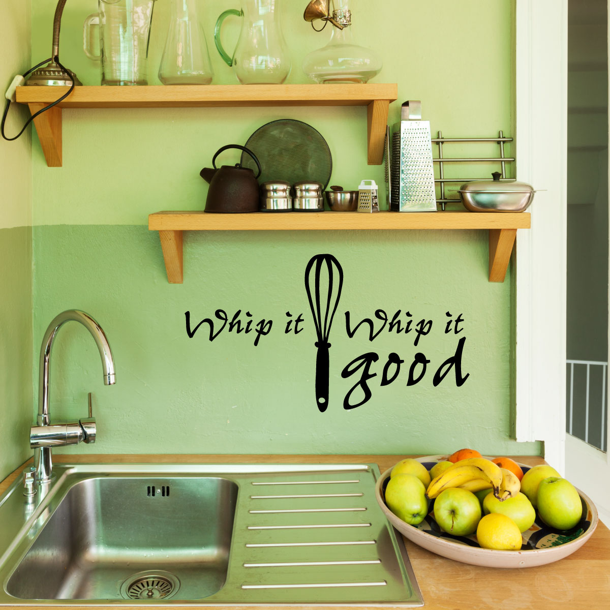stickers muraux pour la cuisine sticker fouetter ambiance. Black Bedroom Furniture Sets. Home Design Ideas
