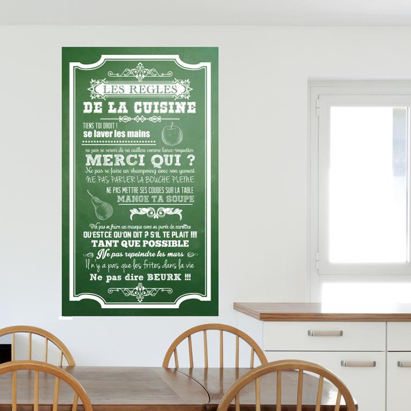 sticker poster les r gles de la cuisine style ardoise stickers citations fran ais ambiance. Black Bedroom Furniture Sets. Home Design Ideas