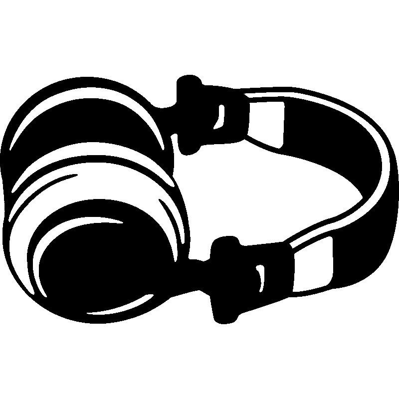 Muurstickers muziek muursticker hoofdtelefoon ambiance - Deco kamer stijl engels ...
