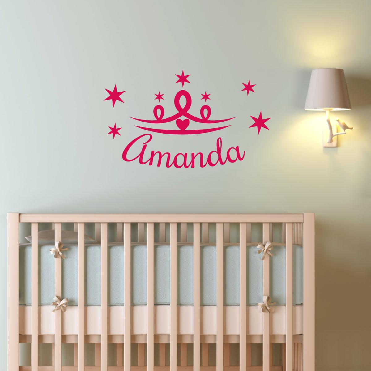 Stickers muraux prénom - Sticker avec couronne de princesse ...
