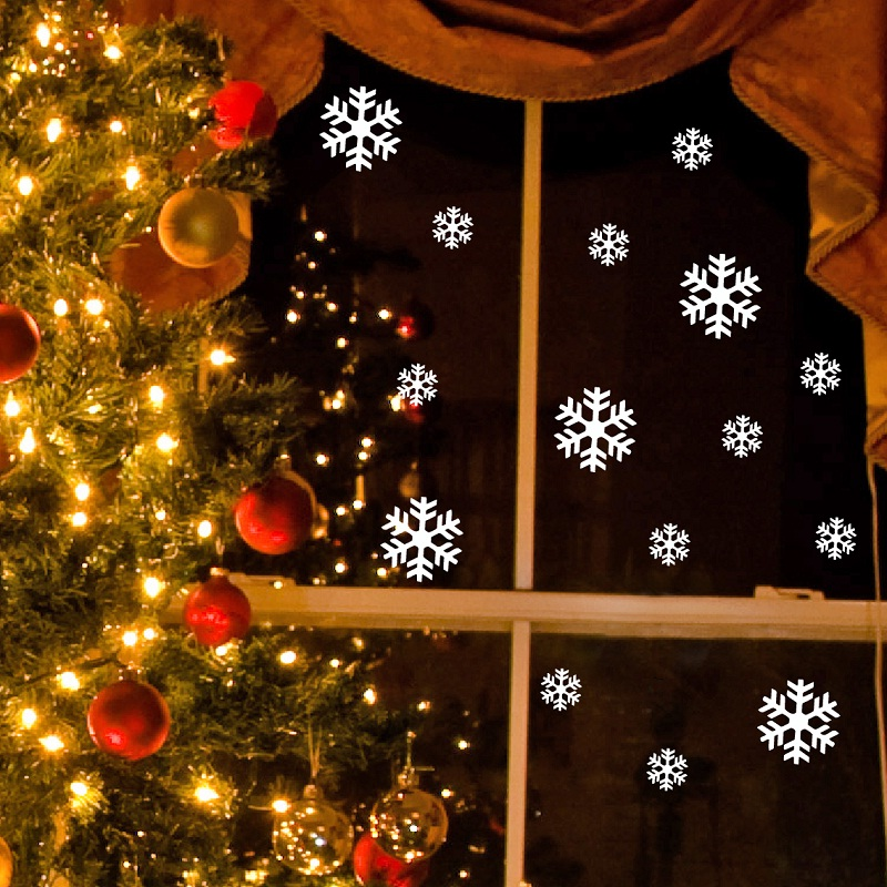 stickers noel flocons de neige lectrostatiques. Black Bedroom Furniture Sets. Home Design Ideas