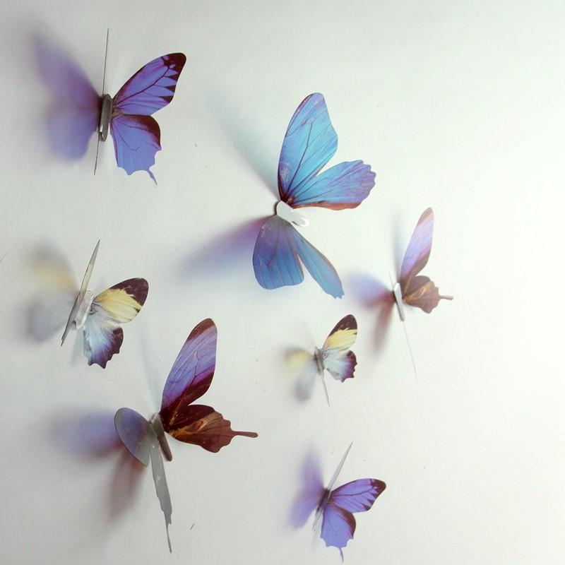 stickers muraux papillons 3d bleus 18 stickers papillons 3d fid le la vie ambiance. Black Bedroom Furniture Sets. Home Design Ideas