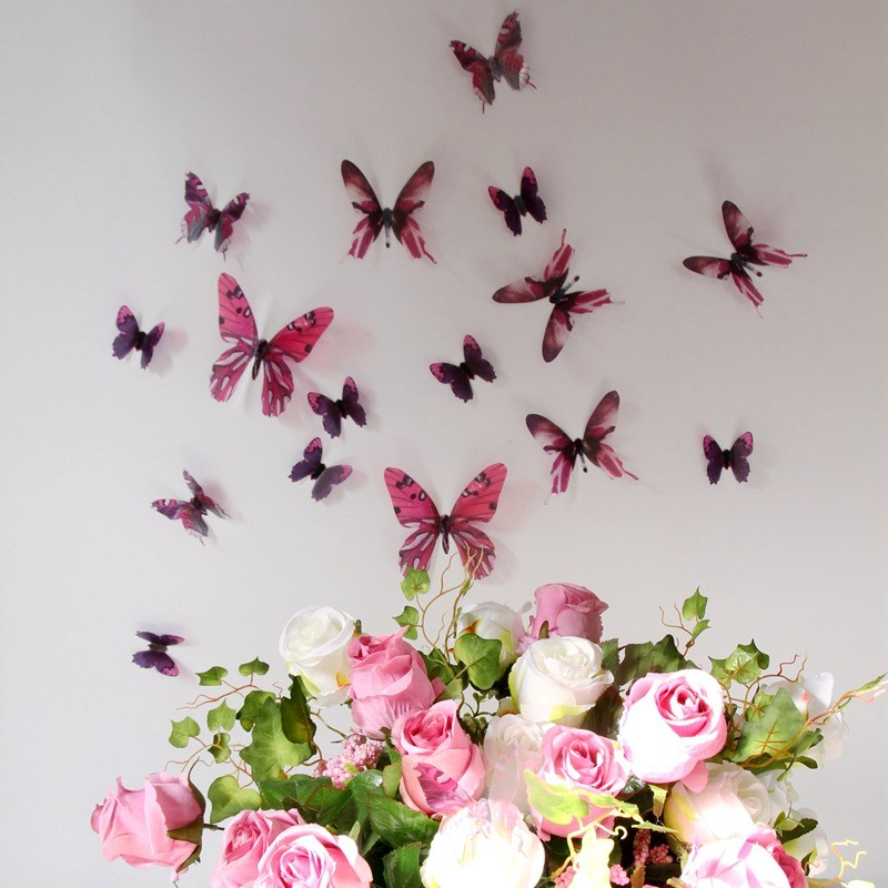 stickers muraux papillons 3d roses 18 stickers papillons 3d fid le la vie ambiance. Black Bedroom Furniture Sets. Home Design Ideas