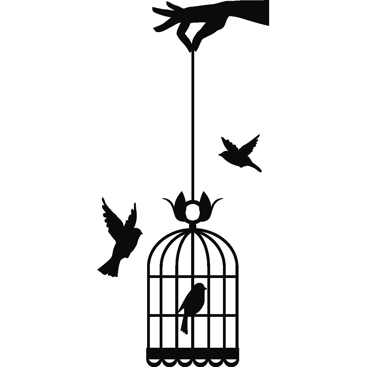 Stickers muraux animaux sticker main tenant cage oiseaux ambiance - Dessin oiseau en cage ...