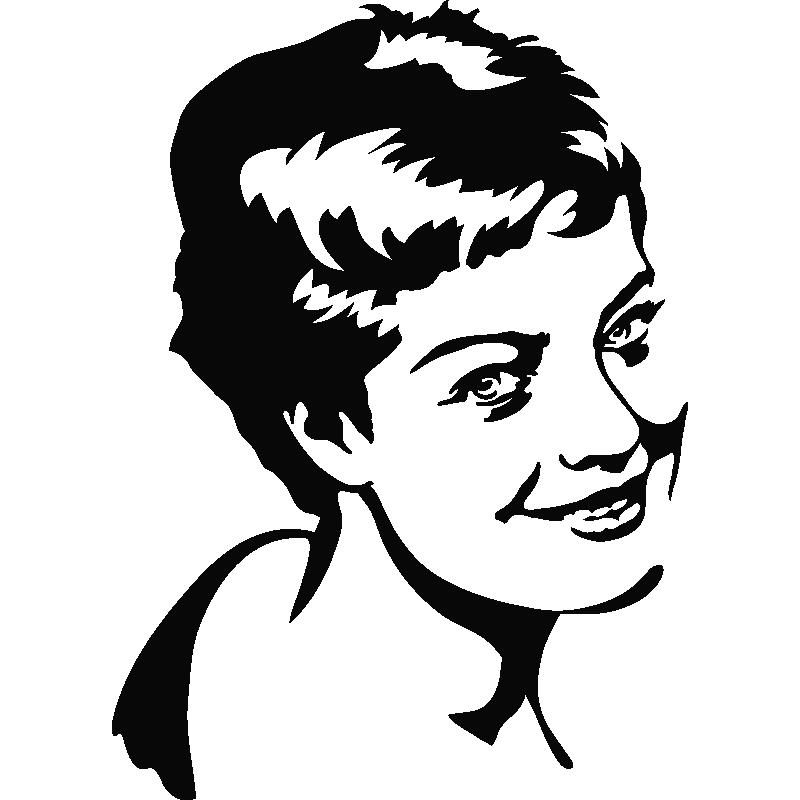 Romy schneider portrait stickers muraux 1 - Stickers muraux noir et blanc ...