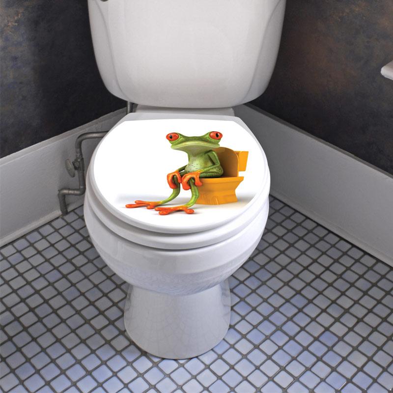 sticker abattant wc avec une grenouille marrante. Black Bedroom Furniture Sets. Home Design Ideas