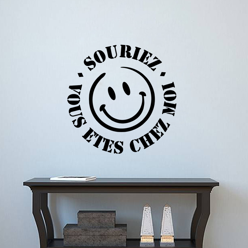Sticker souriez vous tes chez moi stickers stickers for Stickers muraux