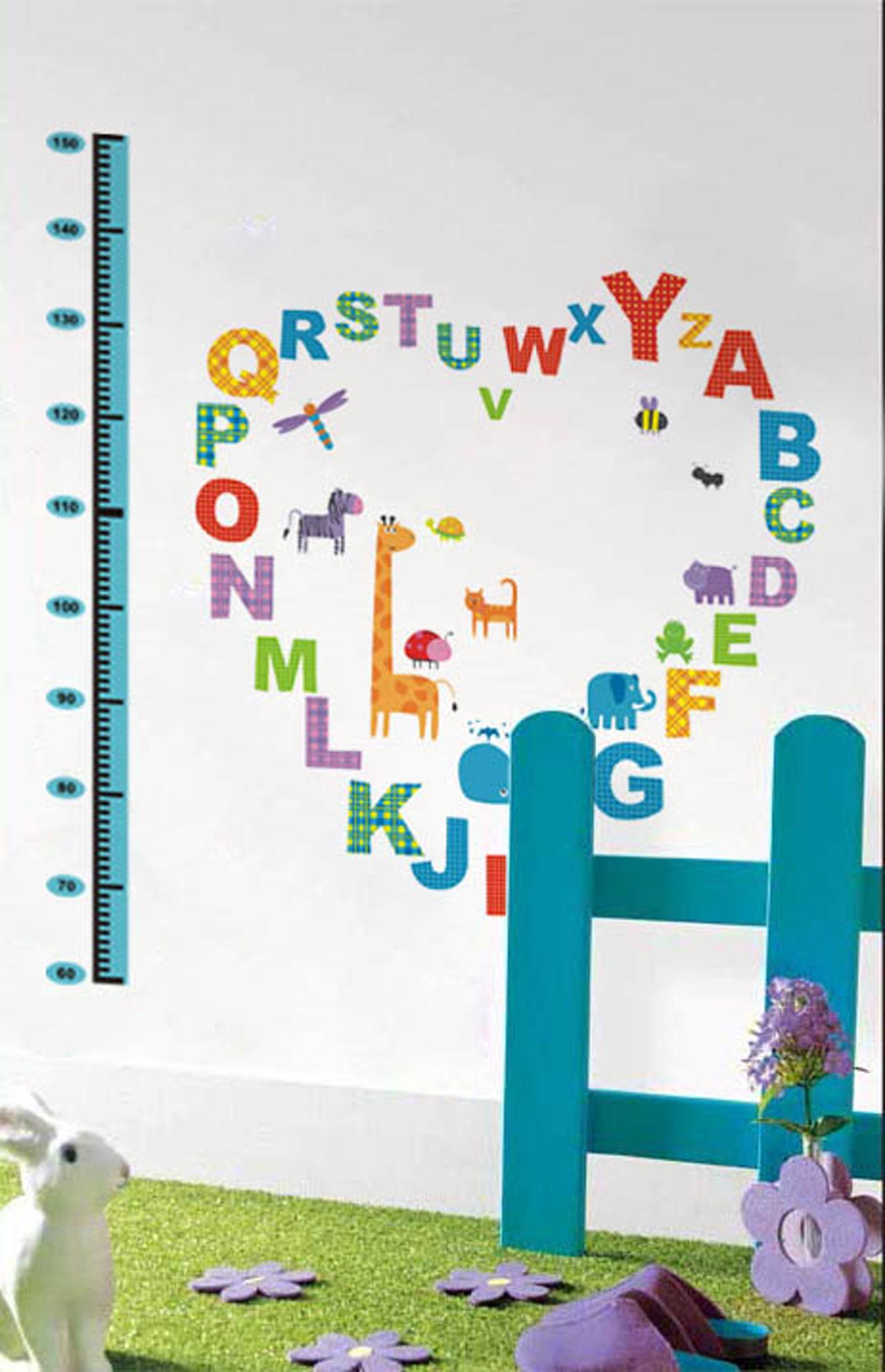 Sticker Toise pour enfants avec alphabet et animaux stickers