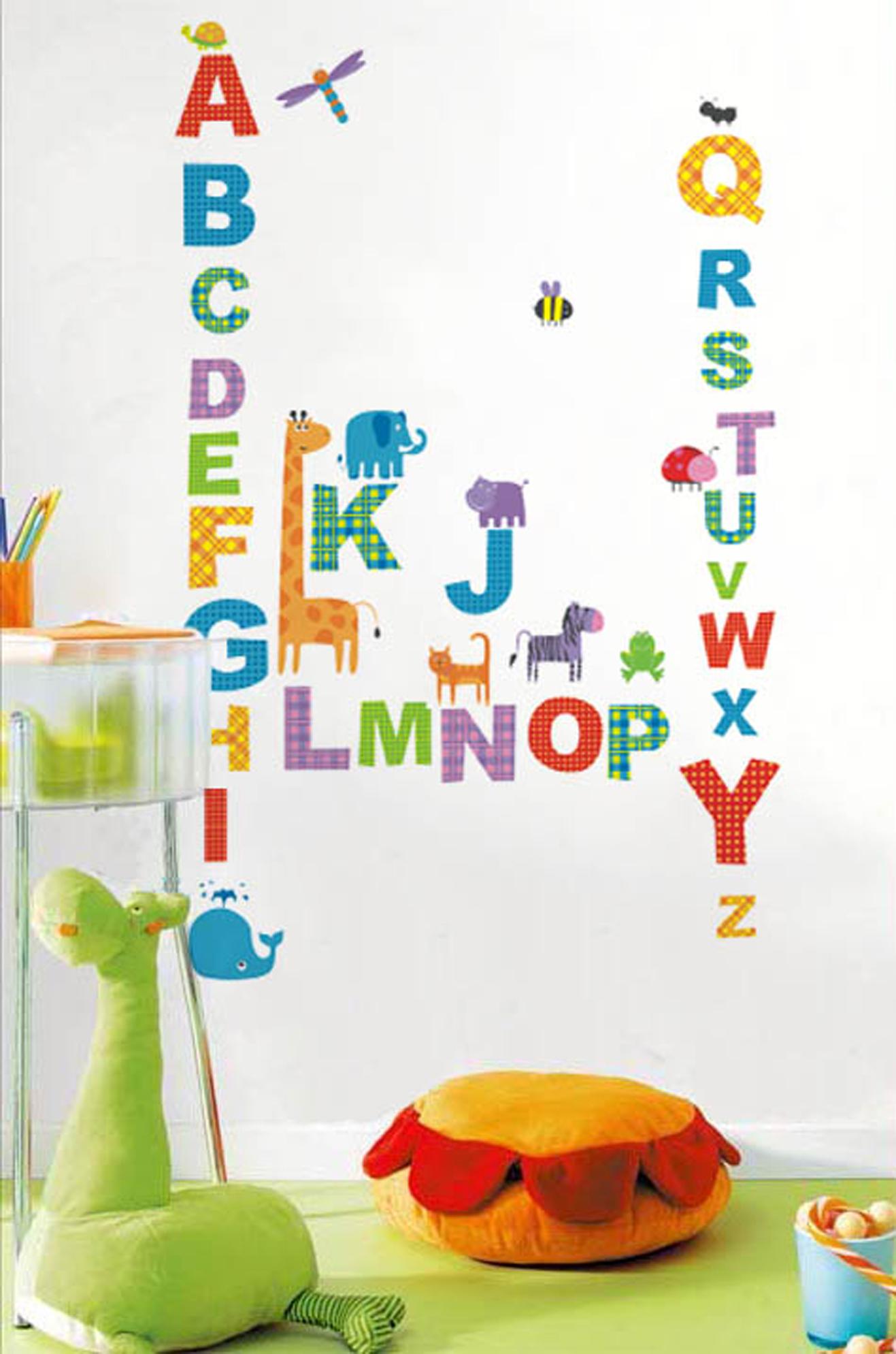 sticker toise pour enfants avec alphabet et animaux stickers animaux ambiance sticker. Black Bedroom Furniture Sets. Home Design Ideas