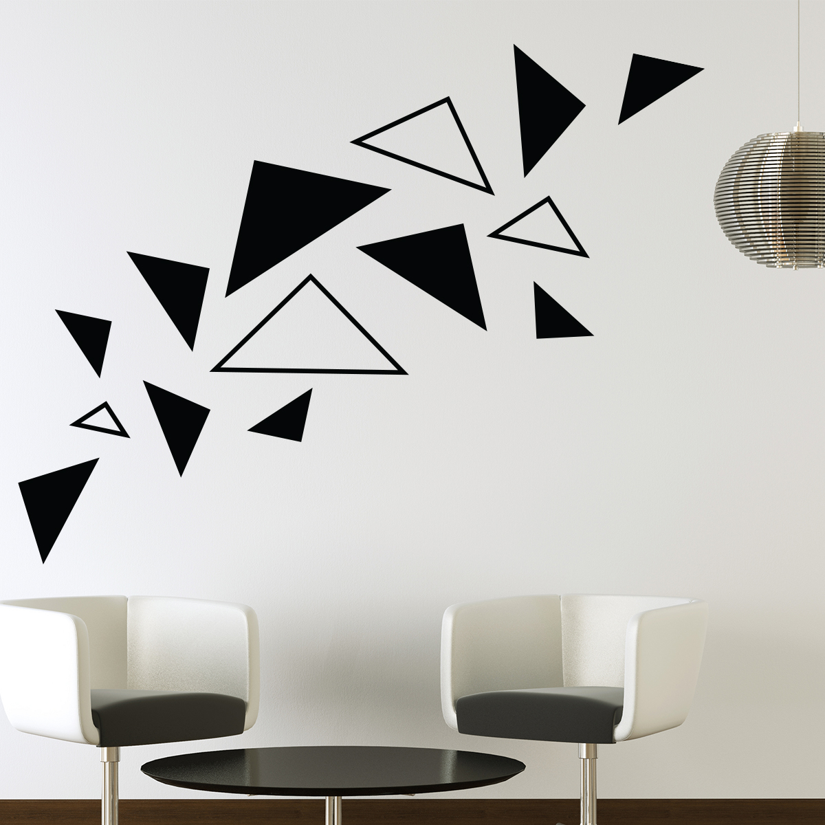 stickers muraux design sticker mural triangles. Black Bedroom Furniture Sets. Home Design Ideas