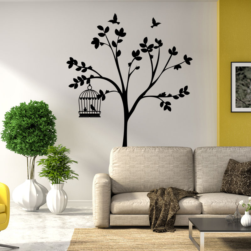 sticker 2 oiseaux en cage sur un jeune arbre stickers. Black Bedroom Furniture Sets. Home Design Ideas